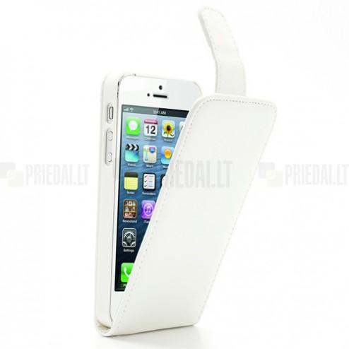 Klasikinis atverčiamas baltas odinis (dibtinės) Apple iPhone SE (5, 5s) dėklas (dėkliukas)