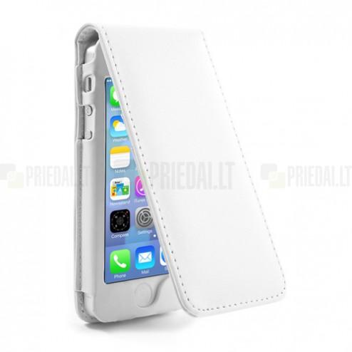 Vertikaliai atverčiamas baltas odinis Apple iPhone SE (5, 5s) dėklas (dėkliukas)