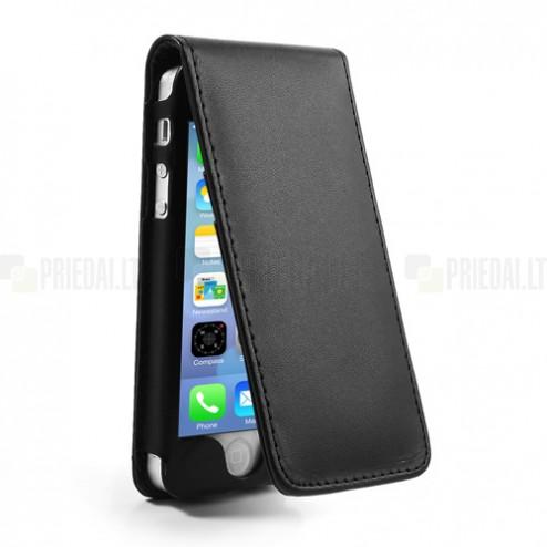 Vertikaliai atverčiamas juodas odinis Apple iPhone SE (5, 5s) dėklas (dėkliukas)