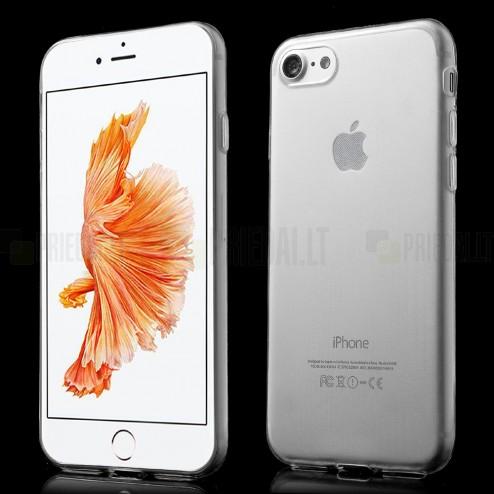 Apple iPhone 7 (iPhone 8) skaidrus (permatomas) kieto silikono TPU ploniausias pasaulyje bespalvis dėklas - nugarėlė
