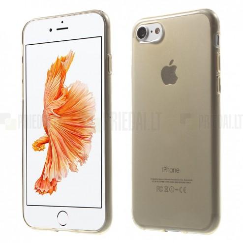 Apple iPhone 7 (iPhone 8) skaidrus (permatomas) šviesiai rudas kieto silikono TPU ploniausias pasaulyje dėklas - nugarėlė