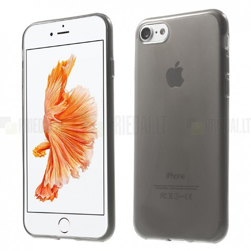 Apple iPhone 7 (iPhone 8) skaidrus (permatomas) pilkas (tamsintas) kieto silikono TPU ploniausias pasaulyje dėklas - nugarėlė