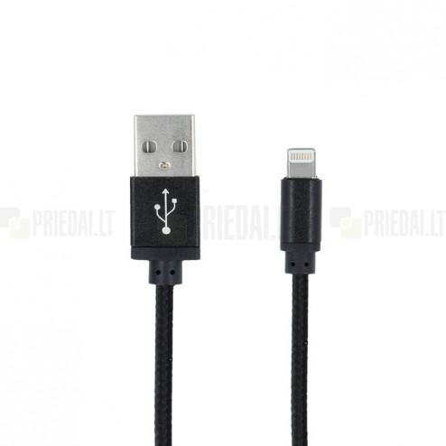 Forever Lightning USB juodas laidas skirtas iPhone 6, 6 Plus, 5, 5S, iPad Air, iPad mini, iPod (MFi sertifikatas)