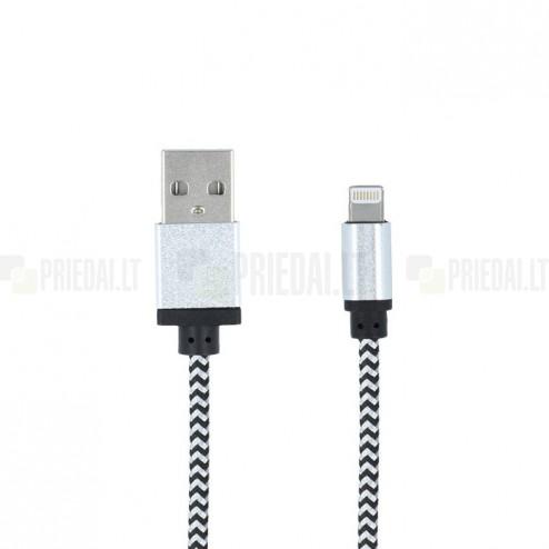 Forever Nylon Lightning USB pilkas laidas skirtas iPhone 6, 6 Plus, 5, 5S, iPad Air, iPad mini, iPod (MFi sertifikatas)