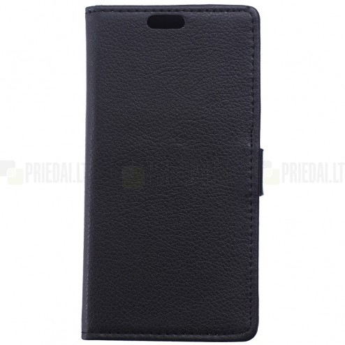 Asus Zenfone 2 5.0 (ZE500CL) atverčiamas juodas odinis Litchi dėklas - piniginė