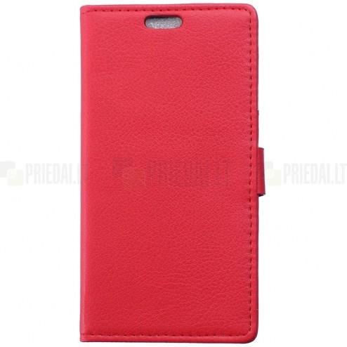 Asus Zenfone 2 5.0 (ZE500CL) atverčiamas raudonas odinis Litchi dėklas - piniginė