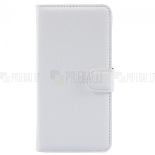 Asus Zenfone 2 5.0 (ZE500CL) atverčiamas baltas odinis Litchi dėklas - piniginė