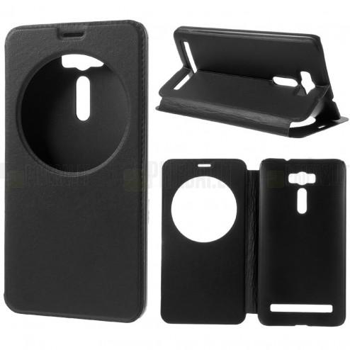 """Asus Zenfone 2 Laser (ZE600KL, ZE601KL) juodas odinis atverčiamas """"View Window"""" dėklas su langeliu"""