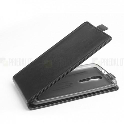 Asus Zenfone 2 5.0 (ZE500CL) klasikinis vertikaliai atverčiamas juodas odinis dėklas