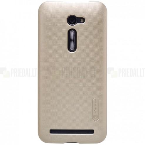 Asus Zenfone 2 5.0 (ZE500CL) Nillkin Frosted Shield auksinis plastikinis dėklas + apsauginė ekrano plėvelė
