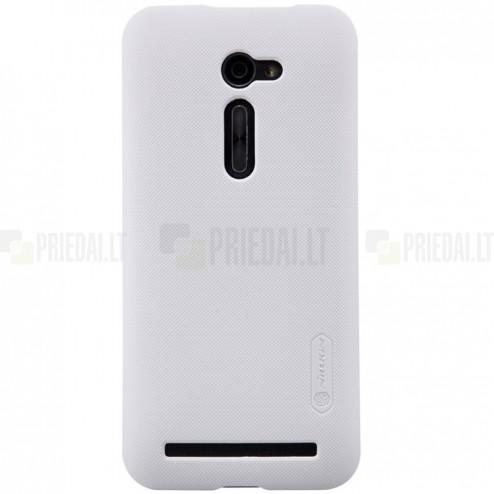 Asus Zenfone 2 5.0 (ZE500CL) Nillkin Frosted Shield baltas plastikinis dėklas + apsauginė ekrano plėvelė