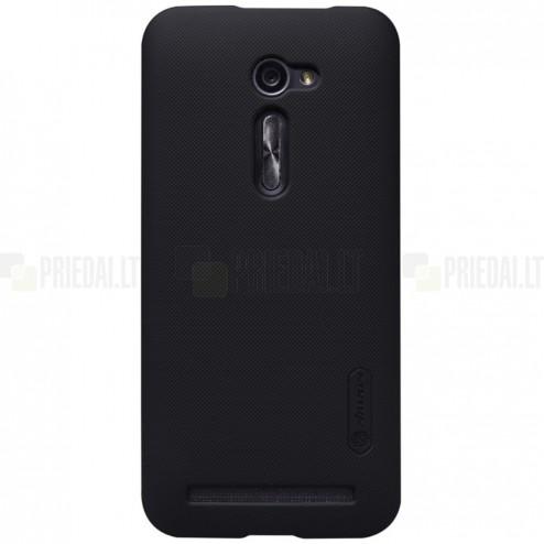Asus Zenfone 2 5.0 (ZE500CL) Nillkin Frosted Shield juodas plastikinis dėklas + apsauginė ekrano plėvelė
