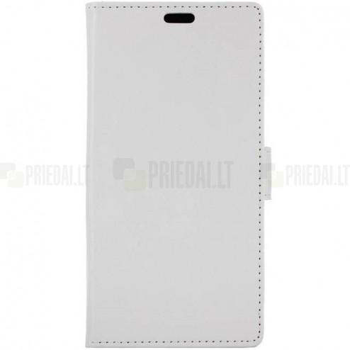 Asus Zenfone 3 5.2 (ZE520KL) atverčiamas baltas odinis dėklas - piniginė
