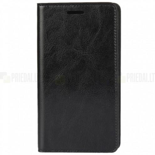 Asus Zenfone 3 5.2 (ZE520KL) atverčiamas juodas odinis dėklas - piniginė