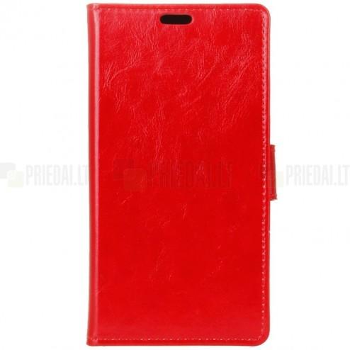 Asus Zenfone 3 Laser (ZC551KL) atverčiamas raudonas odinis dėklas - piniginė