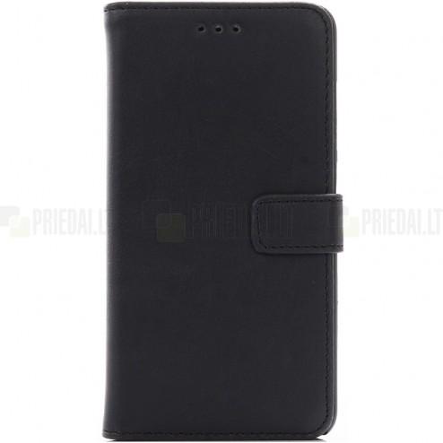 Asus Zenfone 3 Laser (ZC551KL) atverčiamas juodas odinis retro dėklas - piniginė