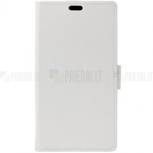 Asus Zenfone 3 Max (ZC520TL) atverčiamas baltas odinis dėklas - piniginė