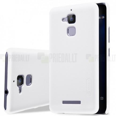 Asus Zenfone 3 Max (ZC520TL) Nillkin Frosted Shield baltas plastikinis dėklas + apsauginė ekrano plėvelė