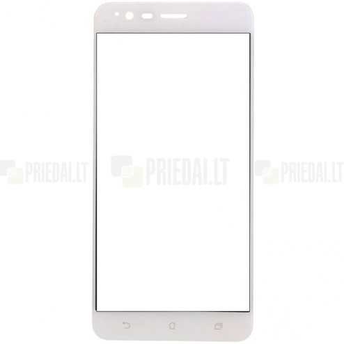 "Asus Zenfone 3 Zoom (ZE553KL) ""Calans"" 9H Tempered Glass sustiprintos apsaugos baltas pilnai dengiantis apsauginis ekrano stiklas 0,2 mm"