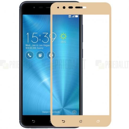"Asus Zenfone 3 Zoom (ZE553KL) ""Calans"" 9H Tempered Glass sustiprintos apsaugos auksinis pilnai dengiantis apsauginis ekrano stiklas 0,2 mm"