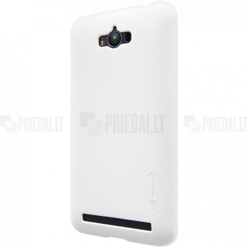 Asus Zenfone Max (ZC550KL) Nillkin Frosted Shield baltas plastikinis dėklas + apsauginė ekrano plėvelė