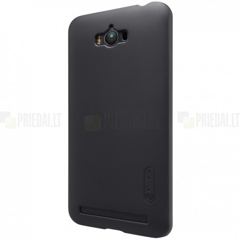Asus Zenfone Max (ZC550KL) Nillkin Frosted Shield juodas plastikinis dėklas + apsauginė ekrano plėvelė