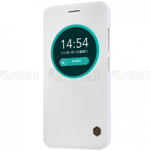"""Prabangus """"Nillkin"""" Qin serijos baltas odinis atverčiamas Asus Zenfone Max (ZC550KL) dėklas - knygutė"""