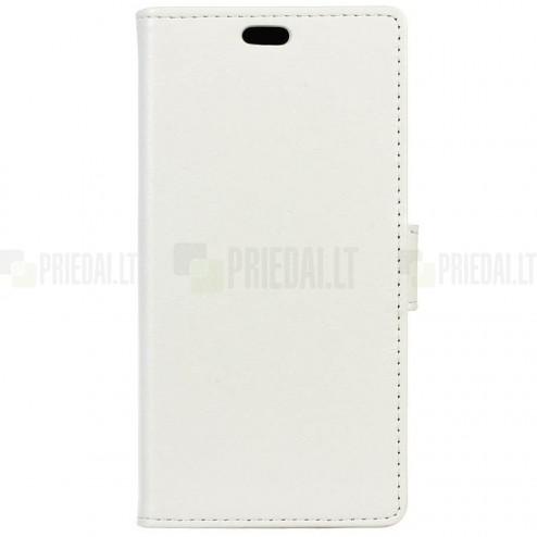 Asus Zenfone Max (ZC550KL) atverčiamas baltas odinis dėklas - piniginė