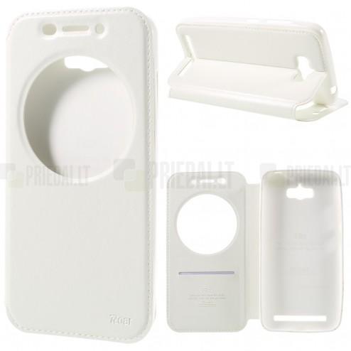 Asus Zenfone Max (ZC550KL) Roar Noble baltas atverčiamas dėklas su langeliu