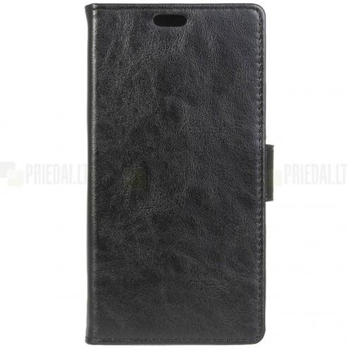Asus Zenfone Max (ZC550KL) atverčiamas juodas odinis dėklas - piniginė