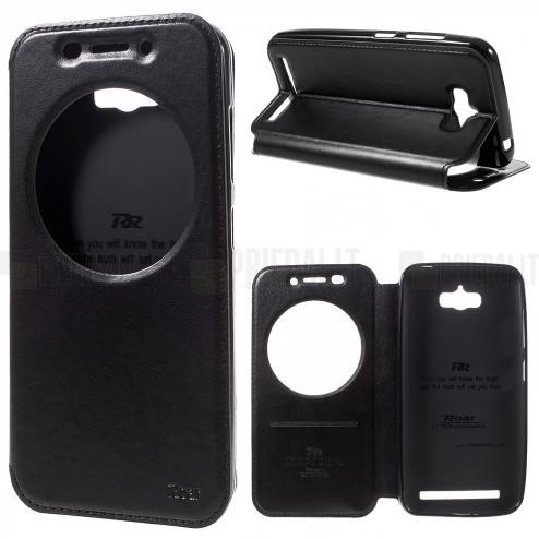 """Asus Zenfone Max (ZC550KL) juodas odinis atverčiamas """"Smart Window"""" dėklas su langeliu"""
