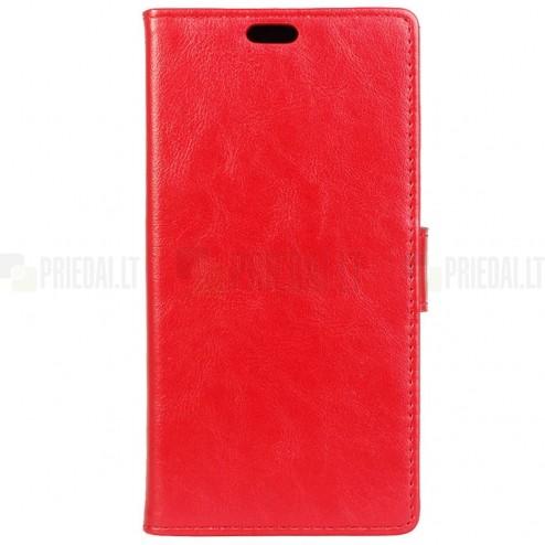 Asus Zenfone Max (ZC550KL) atverčiamas raudonas odinis dėklas - piniginė