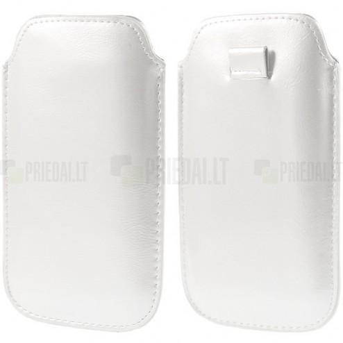 Balta odinė įmautė telefonui (L+ dydis)