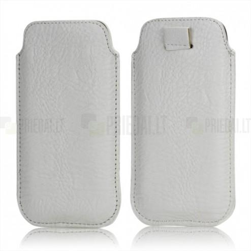 Balta odinė telefono įmautė (L dydis)