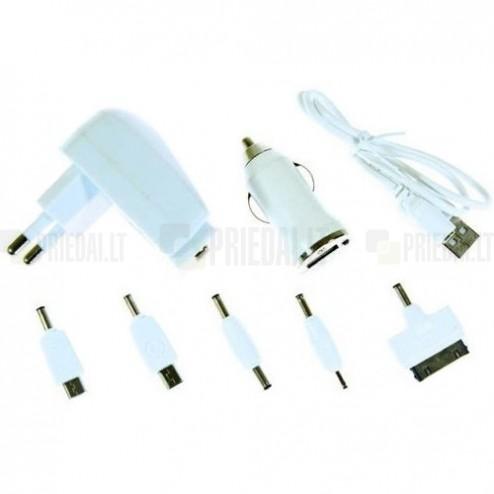 """""""Bottari"""" baltas įkroviklių komplektas su USB laidu (1A)"""