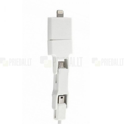 """Bottari"" 4 IN 1 USB baltas laidas (micro USB, mini USB, 30-pin, Lightning)"