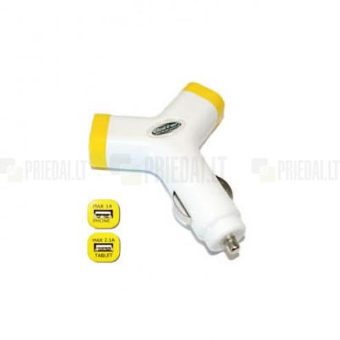 """""""Bottari"""" Y-Charge baltas dviejų USB išėjimų automobilinis įkroviklis (2.1 Amp + 1 Amp)"""
