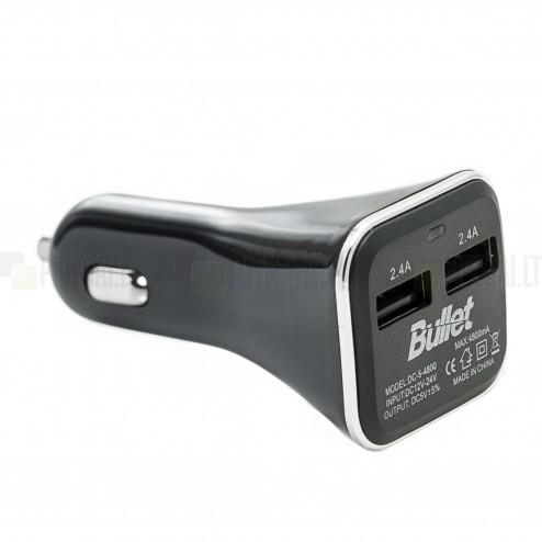 """""""Bullet"""" automobilinis įkroviklis su dviem USB lizdais (2.4 A ir 2.4 A)"""