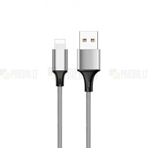 Bullet Lightning USB pilkas laidas skirtas iPhone 6, 6 Plus, 5, 5S, iPad Air, iPad mini, iPod (MFi sertifikatas)