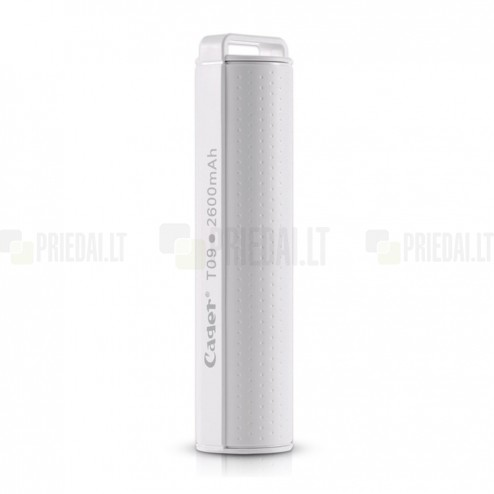 Cager T09 atsarginė išorinė lyčio jonų baterija (akumuliatorius, 2600 mAh), angl. Power bank - balta