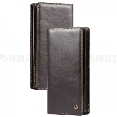 Universali atverčiama šviesiai ruda odinė įmautė - piniginė (XL+ dydis)
