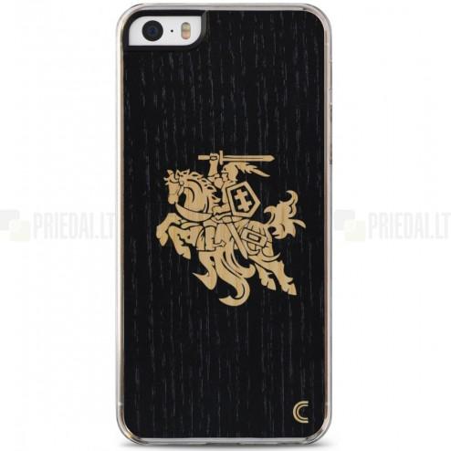"""Apple iPhone 5 / 5S / SE """"Crafted Cover"""" Juodas Vytis natūralaus medžio dėklas (šviesus medis)"""