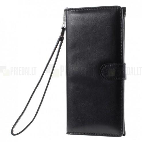 Universali atverčiama juoda odinė įmautė - piniginė (XL+ dydis)