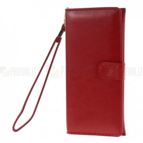 Universali atverčiama raudona odinė įmautė - piniginė (XL+ dydis)