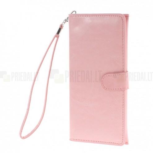 Universali atverčiama rožinė odinė įmautė - piniginė (XL+ dydis)
