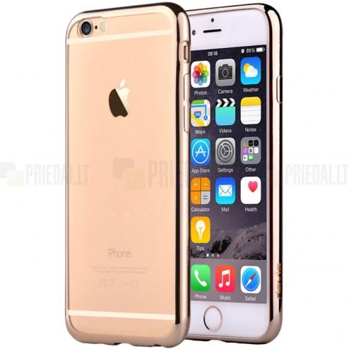 """Apple iPhone 6 (6s) """"Devia"""" Glitter Case TPU silikoninis skaidrus permatomas itin plonas dėklas su auksiniu rėmeliu ir apsauginis ekrano stiklas"""
