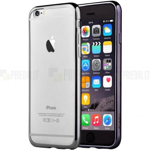 """Apple iPhone 6 (6s) """"Devia"""" Glitter Case TPU silikoninis skaidrus permatomas itin plonas dėklas su juodu rėmeliu ir apsauginis ekrano stiklas"""