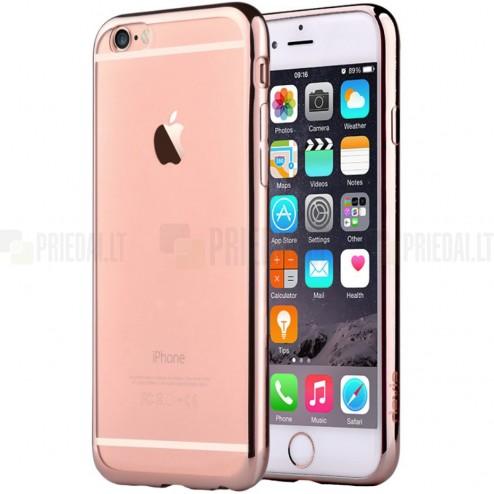 """Apple iPhone 6 (6s) """"Devia"""" Glitter Case TPU silikoninis skaidrus permatomas itin plonas dėklas su rožiniu rėmeliu ir apsauginis ekrano stiklas"""