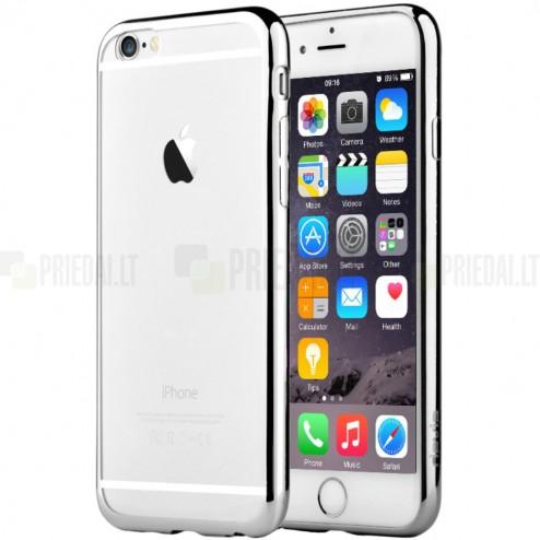 """Apple iPhone 6 (6s) """"Devia"""" Glitter Case TPU silikoninis skaidrus permatomas itin plonas dėklas su sidabriniu rėmeliu ir apsauginis ekrano stiklas"""