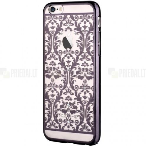 Apple iPhone 6 (6s) Devia Crystal Baroque Swarovski plastikinis skaidrus permatomas juodas dėklas